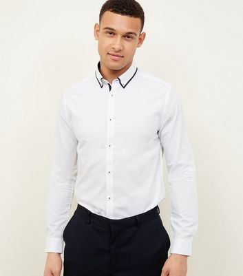 White Tipped White Collared Shirt