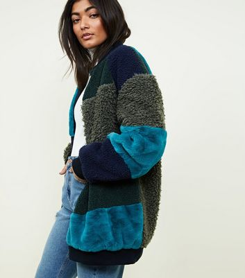 Noisy May Blue Patchwork Faux Fur Coat