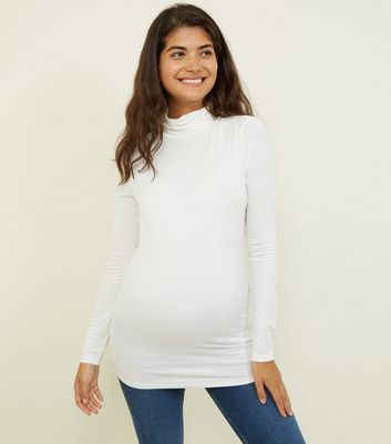 Maternity Off White Roll Neck Top