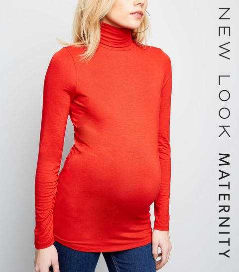 3ae266cb7d049 ... Maternity Red Roll Neck Top ...