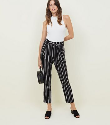 Tall Black Stripe Paperbag Waist Trousers