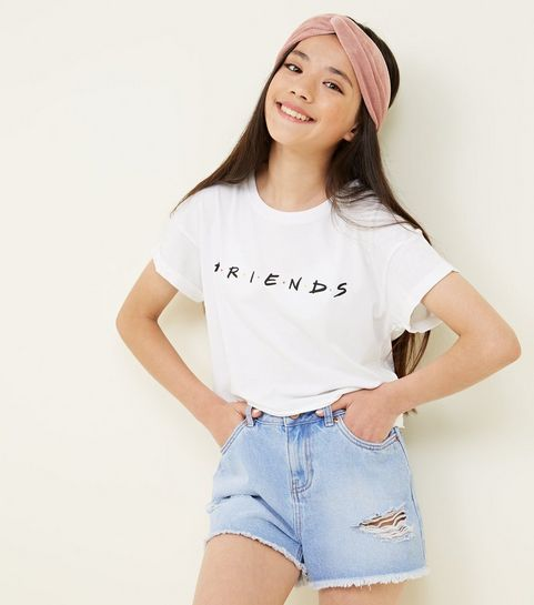 3fbf462c80d82 ... Girls White Friends Logo T-Shirt ...