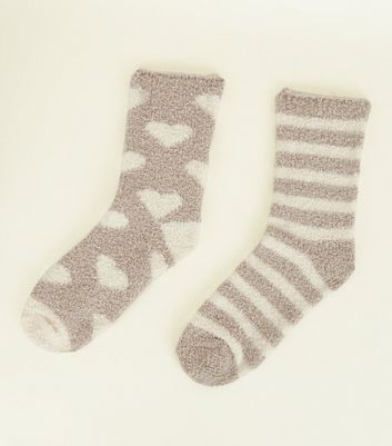 2 Pack Mink Heart and Stripe Fluffy Socks