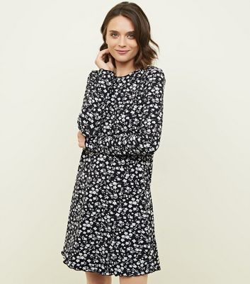 Black Ditsy Floral Soft Touch Swing Dress