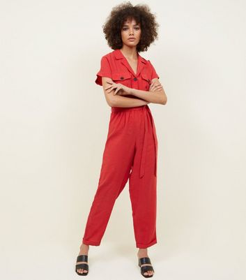 Red Button Pocket Front Jumpsuit