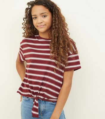 Girls Burgundy Stripe Tie Front T-Shirt