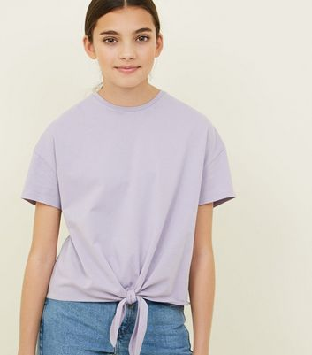 Girls Lilac Tie Front T-Shirt