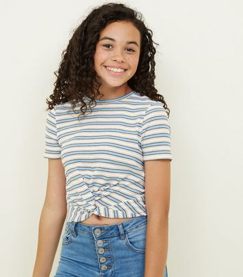 Girls Blue Ribbed Stripe Twist Front T-Shirt