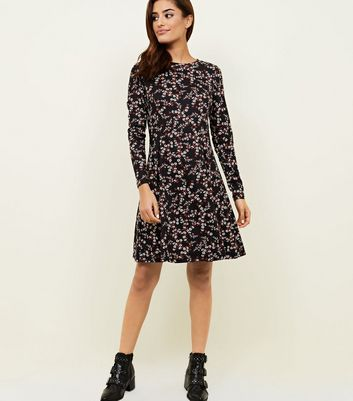 Black Floral Soft Touch Long Sleeve Dress