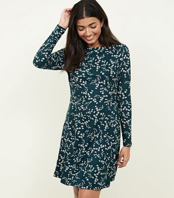 Green Floral Long Sleeve Skater Dress