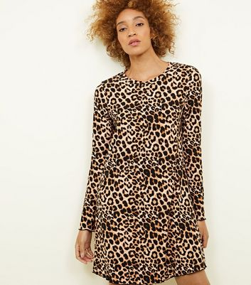Brown Leopard Print Soft Touch Swing Dress