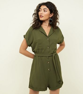 Khaki Revere Collar Button Through Playsuit