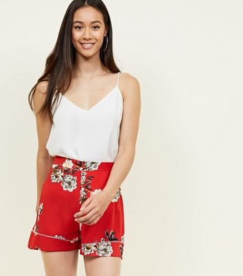 57c869148212 Shoptagr   Cameo Rose Red Floral Shorts by New Look