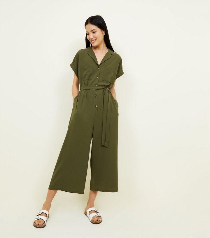 d1e83d052c13 Khaki Revere Collar Culotte Jumpsuit