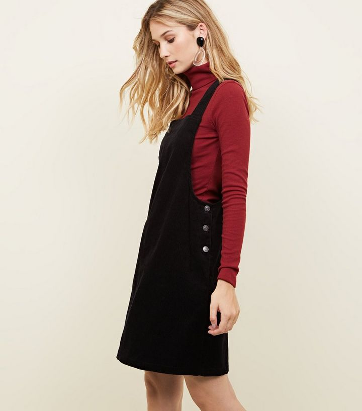 attractive style replicas shopping Black Corduroy Button Side Pinafore Dress Add to Saved Items Remove from  Saved Items