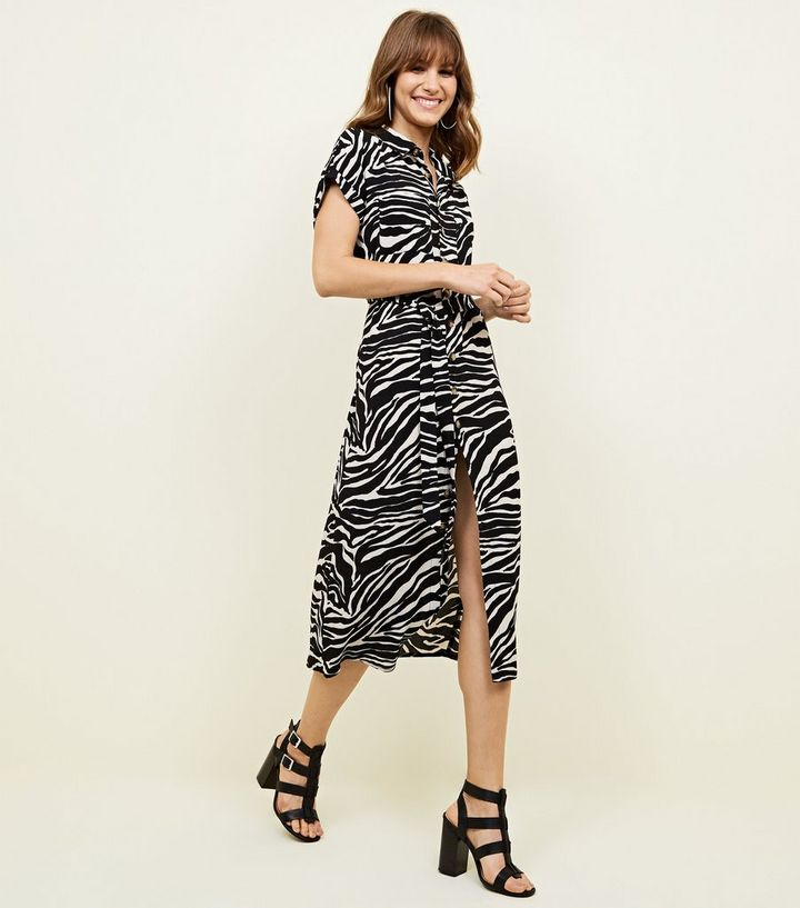 84907cbd82 Black Zebra Print Midi Shirt Dress | New Look