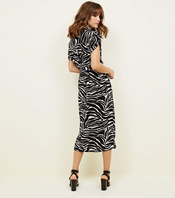 7f78799a58dc Black Zebra Print Midi Shirt Dress | New Look