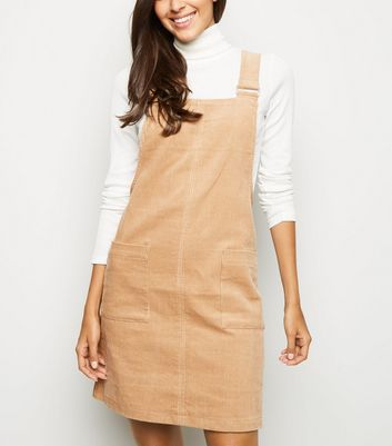 Camel Corduroy Pocket Front Pinafore Dress