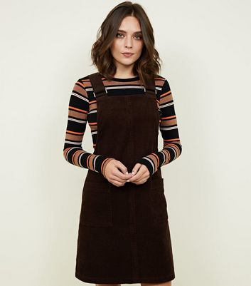 Dark Brown Corduroy Pocket Front Pinafore Dress