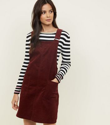 Burgundy Corduroy Pocket Front Pinafore Dress