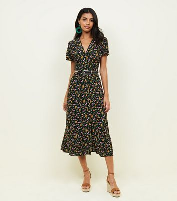 Black Bright Floral Button Through Midi Tea Dress