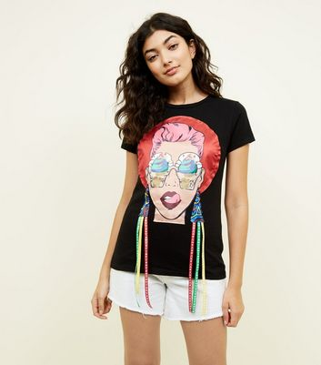 Cameo Rose Black Ice Cream Face T-Shirt New Look
