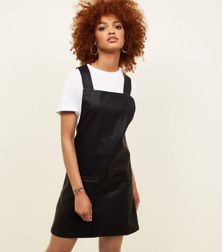 Black Leather Look Pinafore Dress New Look
