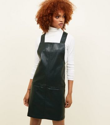 Dark Green Leather-Look Pinafore Dress New Look