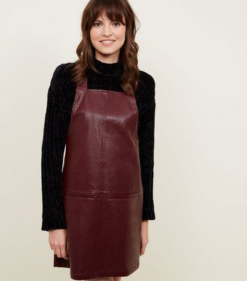 Burgundy Leather-Look Pinafore Dress