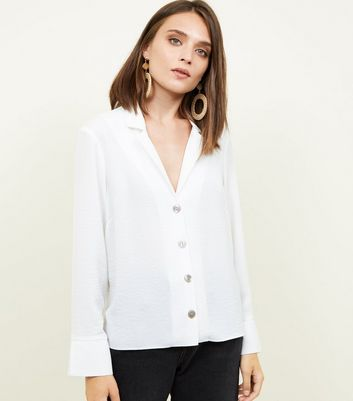 Off White Crepe Revere Collar Boxy Shirt