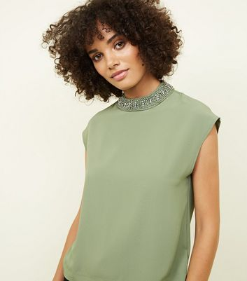 Khaki Diamanté Neck Cap Sleeve Top
