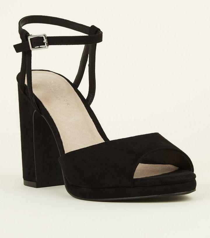 7caf3b530fd Black Comfort Peep Toe Platform Block Heels