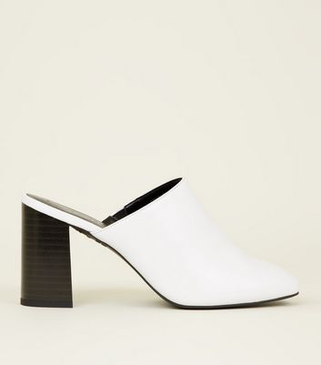 White Block Heel Square Toe Mules