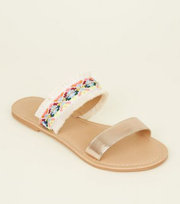 Wide Fit Gold Leather and Woven Strap Sandals