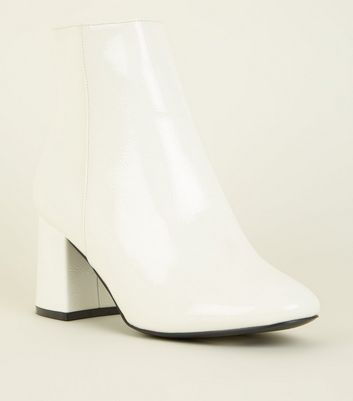 Wide Fit White Patent Ankle Boots