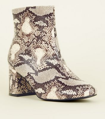 Wide Fit Light Brown Faux Snake Boots