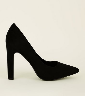 Wide Fit Black Suedette Block Heel Pointed Courts
