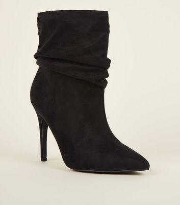 Black Suedette Stiletto Slouch Boots