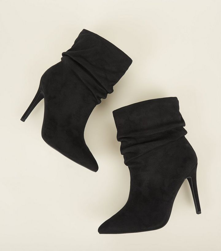 907ee41bdd0 ... Wide Fit Black Suedette Stiletto Slouch Boots. ×. ×. ×. Shop the look