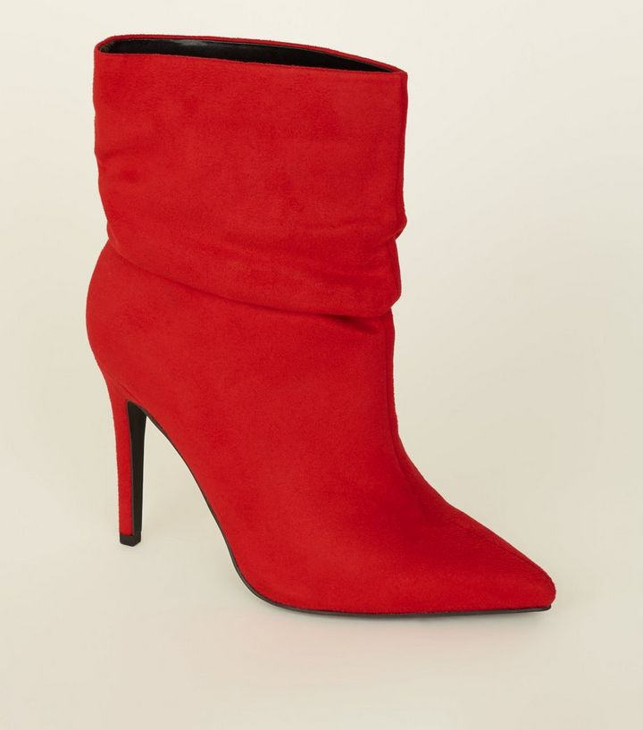 be9a3470b26 Wide Fit Red Suedette Stiletto Slouch Boots