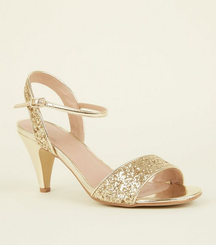 7e83fa5069a Wide Fit Gold Glitter Cone Heels Add to Saved Items Remove from Saved Items