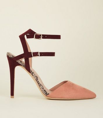 Wide Fit Pink Colour Block Double Ankle Strap Stilettos
