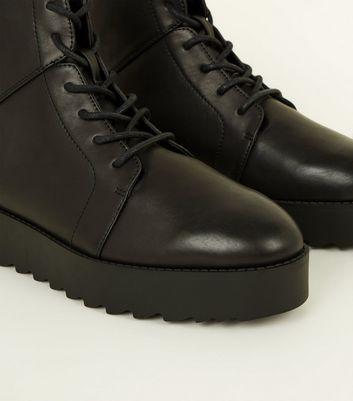 Black Leather-Look Chunky Flatform Lace