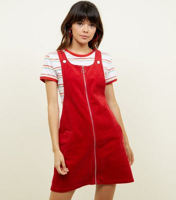 Red Corduroy Zip Through Pinafore Dress
