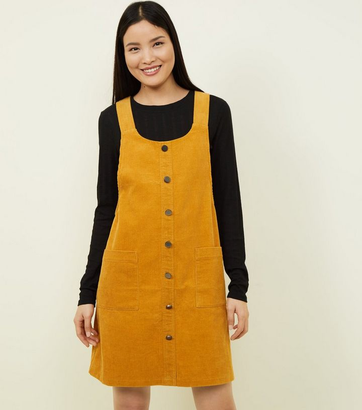98589fcb941 Mustard Button Front Corduroy Pinafore Dress