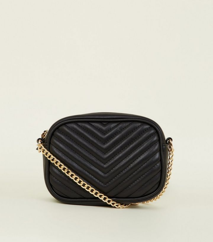 Black Chevron Quilted Camera Bag  2245f4d4cd0f7