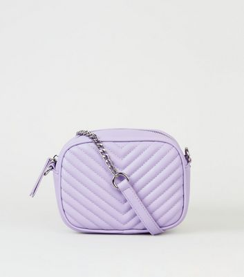 Lilac Chevron Quilted Camera Bag