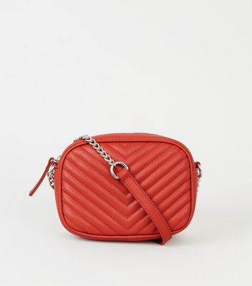 Orange Chevron Quilted Camera Bag