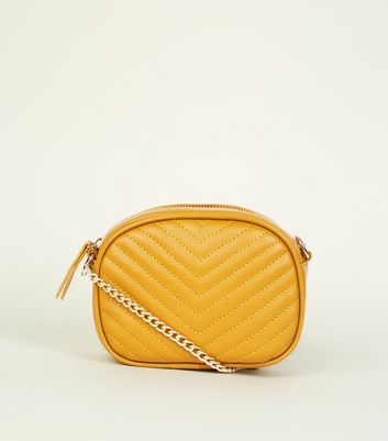 Mustard Chevron Quilted Camera Bag