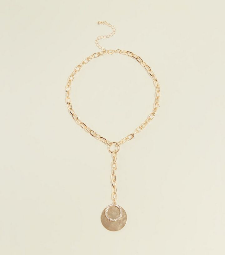 Gold Coin and Chain Link Lariat Necklace Add to Saved Items Remove from  Saved Items